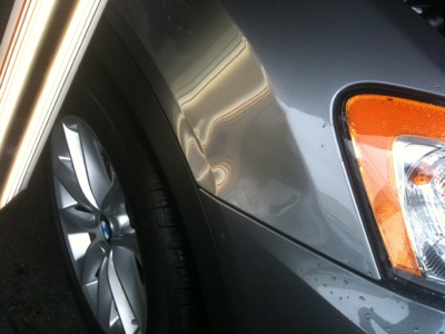 BMW Front Fender Paintless Dent Repair (Before)